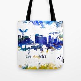 Los Angeles Skyline yellow-blue Tote Bag