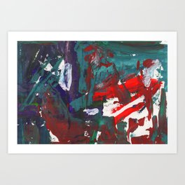 Bright multi-colored painting, contemporary art. Gouache acrylic paint, abstract texture hand drawn Art Print