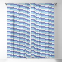 Staggered Oblong Rounded Lines Blues and White - Stripe Pattern Sheer Curtain
