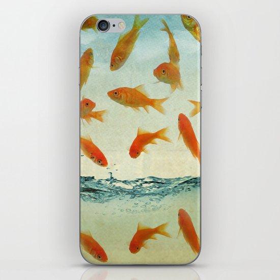 raining gold fish iPhone & iPod Skin