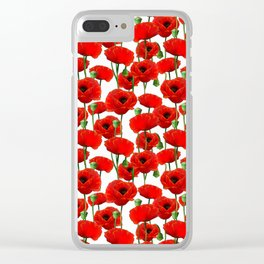 Red Poppy Pattern Clear iPhone Case
