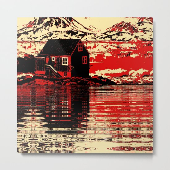 House on the Fjord Metal Print