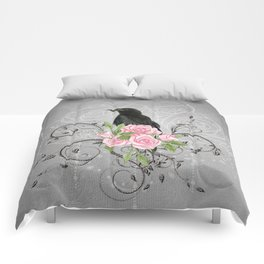 Wonderful crow with flowers Comforters