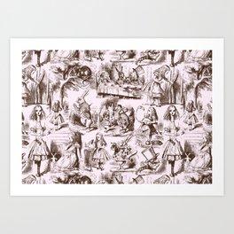 Alice in Wonderland   Toile de Jouy   Brown and Pink Art Print