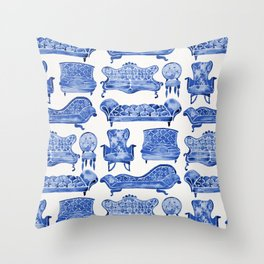 Victorian Lounge – Navy Palette Throw Pillow