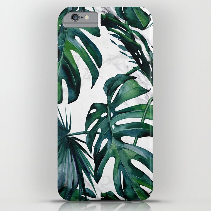 Tropical Palm Leaves Classic on Marble iPhone Case