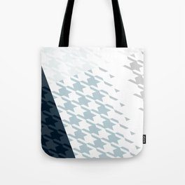 Modern Houndstooth Reinterpreted A – Navy / Gray / White Checked Pattern Tote Bag