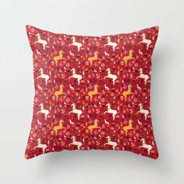 Medieval Unicorns Dark Red Smallest Pattern Throw Pillow