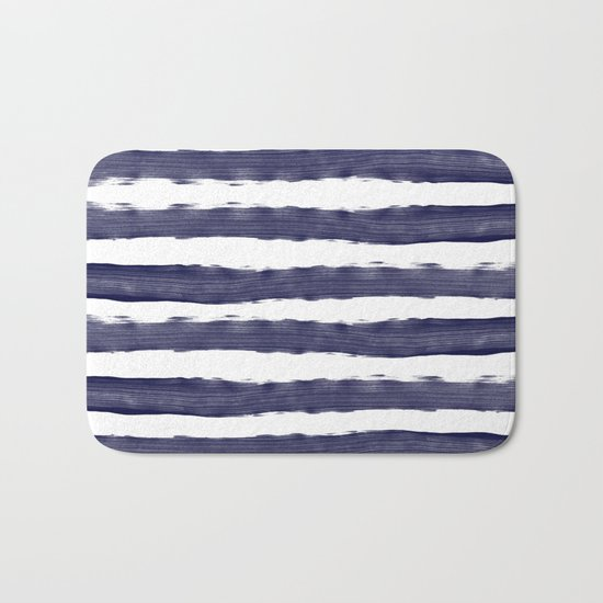 Blue- White- Stripe - Stripes - Marine - Maritime - Navy - Sea - Beach - Summer - Sailor 1 Bath Mat
