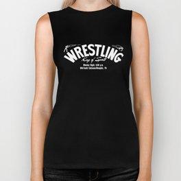 B&W Wrestling Logo Biker Tank