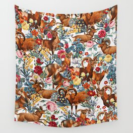 Capra Cylindricornis and Floral Pattern Wall Tapestry