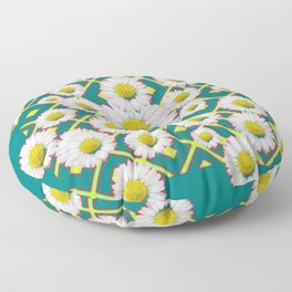 Teal Color Shasta Daisies Lime Pattern Art Abstract Floor Pillow