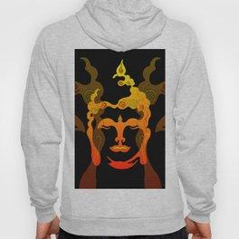 Illustration Buddha Head orange black design Hoody