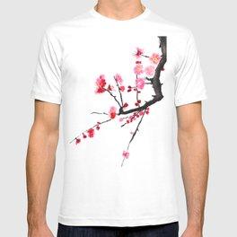 red plum flower T-shirt