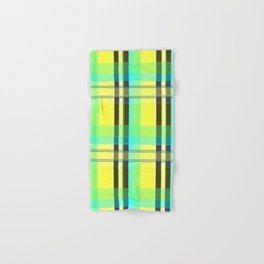 Yellow Aqua Brown and Green Plaid Hand & Bath Towel
