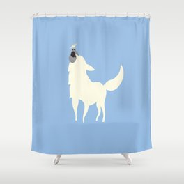 Little White Dog with Bird, Blue Shower Curtain