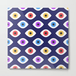 Lucky Eyes Vintage Pattern Metal Print