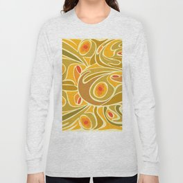 Rooster pattern in Yellow Goldenrod Long Sleeve T-shirt