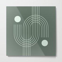 Geometric Lines in Sage Color Metal Print