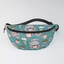 Cute Little Hippo, Lattes and Donuts, Pink and Blue Illustration, Happy Hippopotamus, For Girls Fanny Pack