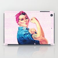 sayings iPad Cases featuring Fight Like A Girl Rosie The Riveter Girly Mod Pink by Girly Road
