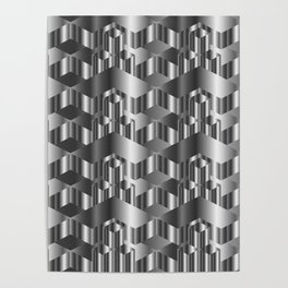 High grade metal texture- reflective mirrored surface Poster