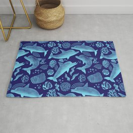 Dolphins - Bright Cobalt Blue + Turquoise Rug