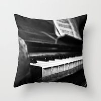 piano Throw Pillows featuring Piano by Monochrome by Juste Pixx