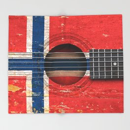 Old Vintage Acoustic Guitar with Norwegian Flag Throw Blanket