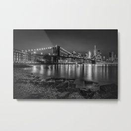 Nightly Stroll along the East River | Monochrome Metal Print