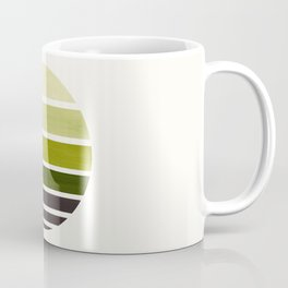Olive Green Mid Century Modern Minimalist Circle Round Photo Staggered Sunset Geometric Stripe Desig Coffee Mug