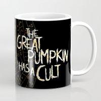 pentagram Mugs featuring Cult of the Great Pumpkin: Pentagram by Chad Savage