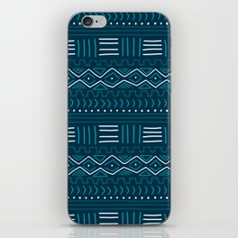 Mudcloth on Teal iPhone Skin