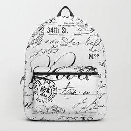 Vintage handwriting black and white Backpack