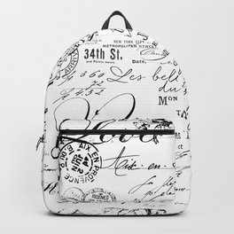 Vintage handwriting black and white Backpack