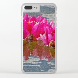 Pink Water Lillies Clear iPhone Case