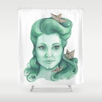 ships Shower Curtains featuring Paper ships II by Pendientera