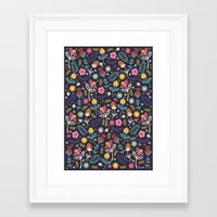 flowers Framed Art Prints featuring Ditsy Flowers by Poppy & Red