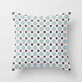 Talavera Floral Tiles Pattern Throw Pillow