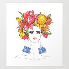 Tulips and Handbags Fashion Art  Art Print