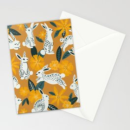 Bunnies & Blooms - Ochre & Teal Palette Stationery Cards