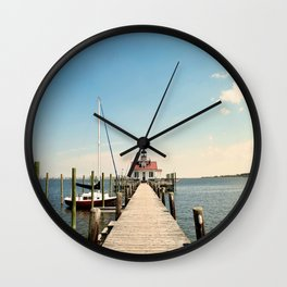Outer Banks, Roanoke Island Marshes Lighthouse, Manteo, NC OBX Wall Clock