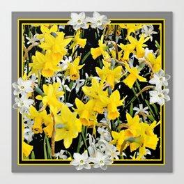 Black-Grey Art Design Yellow-White Daffodils Canvas Print