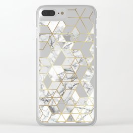White marble geomeric pattern in gold frame Clear iPhone Case
