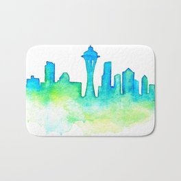 Seattle Skyline Watercolor in Blue and Green Bath Mat