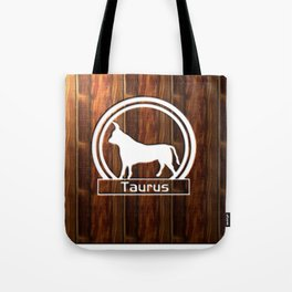 Taurus Sun Sign carved on wood effect Tote Bag