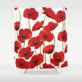 Poppies Flowers red field white background pattern Shower Curtain