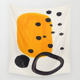 Unique Abstract Unique Mid century Modern Yellow Mustard Black Ring Dots Wall Tapestry