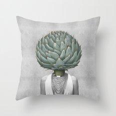 artichoke head Throw Pillow
