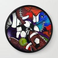 sports Wall Clocks featuring Sports Fans by Jake Dorr